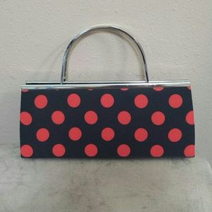 Handbags - Black and red polka dot clutch